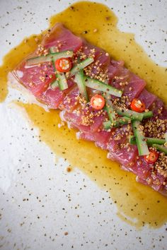 This ceviche is the result of the fusion between Peru and Japanese cuisines: Nikkei. It's so fresh and flavourful it will blow your mind. Tuna Recipes, Raw Food Recipes, Seafood Recipes, Mexican Food Recipes, Cooking Recipes, Healthy Recipes, Cooking Tips, Mexican Desserts, Freezer Recipes