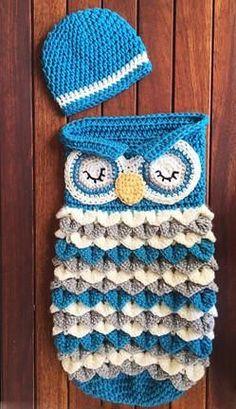 Crochet Pattern Baby Owl Beanie Cocoon Set