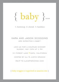 Long Distance Baby shower Invitation- I wrote this cute