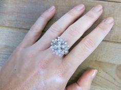 Vintage Antique 14KT White Gold Round Diamond Cluster Ring by OaksBoutique, $799.00