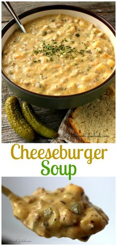 Sitting down to a steaming hot bowl of Creamy Cheeseburger Soup is the perfect way to warm up on a cold blustery day here in Minnesota.  This creamy and decadent soup has become one of our family favorites. http://glitterandgoulash.com/cheeseburger-soup/