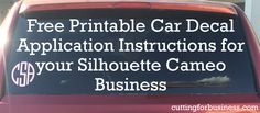 Free, printable car decal instructions for your Silhouette Cameo business - by cuttingforbusiness.com