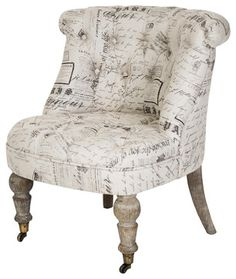 Chair Covered In Script Fabric This Would Be Perfect My Living Room 99 Red Ballons Pinterest Covers Rooms And Recover Chairs