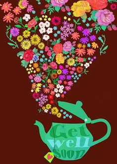 ~xo vintage tea and flowers and 'get-well-soon - petals and stems' xo~