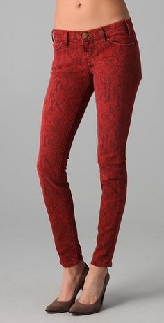 Current/Elliott Boa Print Ankle Skinny Jeans - StyleSays. From far away, looks like a lace pattern. Would be great with a lace pattern.