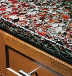 Love The Black/red Contrast In This. Is Recycled Glass Countertop  Installation A DIY
