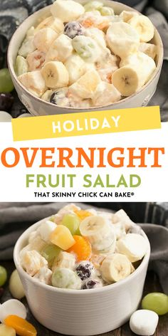 Holiday Fruit Salad with Marshmallows - A salad that's been in our family for 4 generations! #salad #fruitsalad #retro #overnightsalad #holiday #holidaysalad #thatskinnychickcanbake Fruit Salad Recipes, Fruit Salads, Holiday Crafts, Holiday Ideas, Fruit Salad With Marshmallows, Gluten Free Banana, Favorite Holiday, Family Meals, Dips