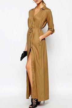 Women's Casual Solid Long Sleeve Slit Belted Maxi Dress - OASAP.com