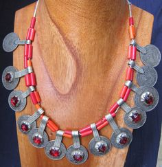 Berber Silver Coins with Old red Glass Beads by TuaregJewelry, $258.00 by Ineke Hemminga