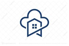 Logo for sale: House Cloud Logo Simple but special house symbol . The symbol itself will looks nice as social media avatar and website or mobile icon .  House internet cloud mobile icon logo logos buy purchase sell on sale sold app apps game software application houseplan real estate realtor realty agent mortgage website web online sky