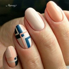 Unique and Creative Geometric Nail Designs For You. If you are looking for nail art designs and are still undecided then you are in the right place. We have put together unique ve beautiful geometric nail designs for you. Latest Nail Art, Trendy Nail Art, Cute Nail Art, Easy Nail Art, Cute Nails, Nail Art Blue, Nail Art Ideas, Classy Nail Designs, Simple Nail Art Designs