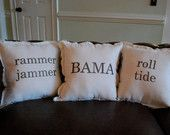 Natural Linen Alabama Themed Pack of 3 Throw Pillows