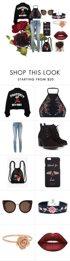 """🌹🌹🌹🌹🌹"" by frania-hernandez ❤ liked on Polyvore featuring Zimmermann, Yves Saint Laurent, Red Herring, Monki, Gucci, STELLA McCARTNEY and Lime Crime"