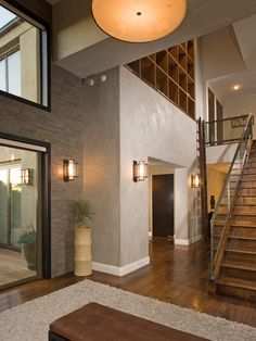 Dark floors and doors w/white trim