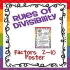Freebie! First 10 suggested days of introducing divisibility rules and a poster displaying the divisibility rules for factors 2-10