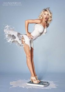 Got milk? Pinups with dresses of real milk. Eddie loves this!