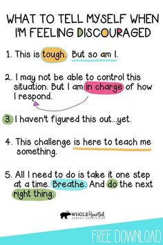 Discouragement is normal. Everyone feels it. But it is one of surest stepping stones to success. When we feel discouraged, we are given the opportunity to develop a growth mindset, positive self-talk… Positive Self Talk, Positive Mindset, Positive Quotes, Positive Thoughts, Positive Feelings, Positive M Words, Positive Psychology, Positive Behavior, The Words