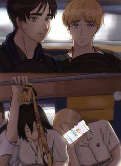 Armin, Eren And Mikasa, Attack On Titan Ships, Attack On Titan Fanart, Boy With White Hair, Atack Ao Titan, Animes On, V Cute, Eremika