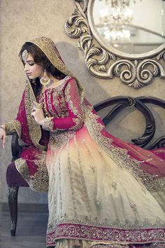 Pakistani Bride ♡ ♥ ♡ Bridal outfit by Pakistan's Fashion Designer, Maria B Pakistani Wedding Dresses, Pakistani Outfits, Indian Dresses, Indian Outfits, Desi Bride, Maria B Bridal, Desi Wedding Dresses, Bridal Outfits, Mode Inspiration