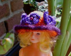 Puppenkleidung - *** Blumenhut für Barbie *** orange, violett - ein Designerstück von Sabisilke bei DaWanda
