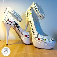 Zapatos personalizados para una boda. Estilo alegre y colorido.