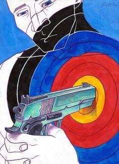 "Zorba Choi,  <세례>, 2015, 종이에 혼합재료, 210 × 297mm  ""쏘아붙였고, 총알처럼 멀어졌다."""