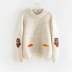 2016 여성 패션 겨울 가을 오 칼라 새로운 올빼미 문자 포켓 히트 컬러 고체 느슨한 캐시미어 스웨터 스웨터