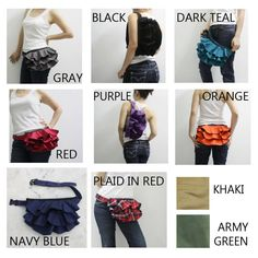 Cute fanny pack with ruffles . ooooowww, how girly! Cute Fanny Pack, Black Fanny Pack, Waist Purse, Waist Pouch, Diy Bags Purses, Fathers Day Sale, Hip Bag, Clothes Crafts, Red Plaid