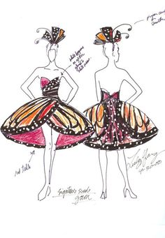 Yuly Lang's sketches for her famous dress