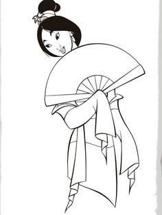 Mulan Disney Princess Coloring Page To Print Out
