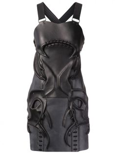 Leather armour dress with bold symmetry & sculptural 3D surface detail; wearable art // Anne Sofie Madsen