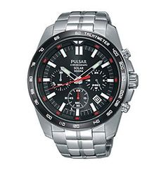 Pulsar® Men's On The Go Solar Chronograph Silvertone Watch with Black Dial
