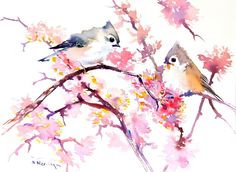Buy Original Art by Suren Nersisyan | watercolor painting | Titmouse and Spring Blossom at UGallery