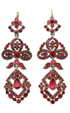 Edwardian Chandelier Earrings of Pink Pastes, Made in the georgian style these earrings were made in the United KIngdom circa 1890-1910, and feature foiled back pastes set in sterling silver.