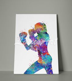 Girl Boxing Canvas Wall Art Sports Watercolor Print Home Decor Wall Hanging Nursery Room Decor Painting Gifts Personalised Custom Poster