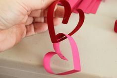 v-day paper heart garland