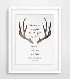 Deer Bible Verse, Deer Prints, Modern Christian Art, Scripture Print, Christian Prints, Psalms Print, Deer Antler Verse, Christian Quote #printableverses