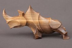 Animal Abstract Contemporary Modern Stylised Minimalist by Sergey Chechenov titled: 'Rhino (Stylised Contemporary Carved Wood sculpture)'. Abstract Sculpture, Wood Sculpture, Sculpture Projects, Metal Sculptures, Bronze Sculpture, Statue Art, Wood Animal, Wood Carving Art, Wooden Art