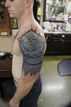 Nice! 4everUtat2, arm tattoo, armor tattoo, color tattoo, cover up tattoo, San…