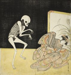"dappledwithshadow: "" Katsukawa Shunsho ""The Actors Ichikawa Danjuro V as a Skeleton, Spirit of the Renegade Monk Seigen (left), and Iwai Hanshiro IV as Princess Sakura (right), in the Joruri 'Sono..."