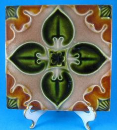Mid Victorian English Majolica Tea Tile Trivet Green Brown Gothic 1860s Architectural Tile