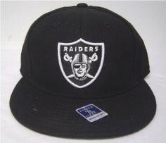82706da2991 Size 8 Black Oakland Raiders Flat Bill Fitted Cap by Reebok.  15.89. Black  underbill