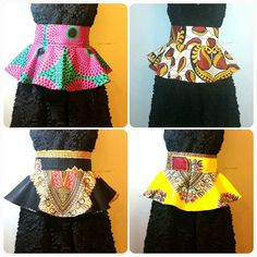 African Print Peplum Belts by TheSewinista on Etsy African Inspired Fashion, African Print Fashion, Fashion Prints, African Print Dresses, African Fashion Dresses, African Dress, African Attire, African Wear, African Women