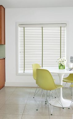 "2 1/2"" Wood Blinds in 13427 Dove White with standard valance, wand tilt and Ladder Tape in 4130 Herringbone/Leaf"