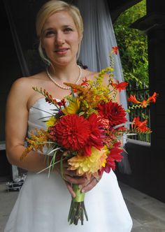 summer dahlia And crocosmia bouquet by Portland Bloem