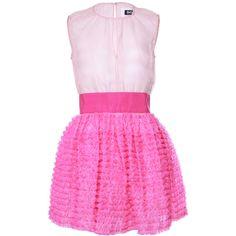 D&G 'Barbie' Pink Dress ($445) ❤ liked on Polyvore featuring dresses, vestidos, pink, vestiti, pink chiffon dress, pink ruffle dress, pink dress, pink cocktail dress and chiffon dress