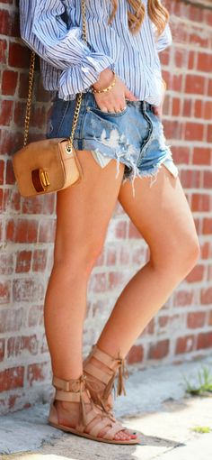 Striped off the shoulder top styles with cut off denim shorts and tassel gladiator sandals, easy weekend outfit