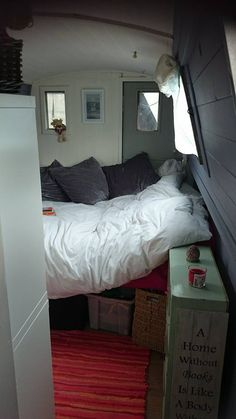 View of the bedroom from the bathroom. (Narrowboat for sale, please email me if you would like more info: lottie91@live.co.uk ) Barge Interior, Camper Interior, Best Interior, Interior And Exterior, Interior Design, Canal Boat Interior, Canal Barge, Narrowboat Interiors, Camper Boat