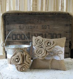 Flower Girl Basket Ring Bearer Pillow Set by TheShabbyChicWedding, $60.00 flr mkng brlp SSL fbrc cscn cshn lgn