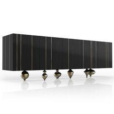 Contemporary sideboard / brass / marble / solid wood - IL PEZZO 1 - Il Pezzo Mancante